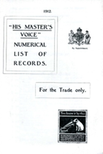 His Master's Voice Numerical List of Records 1912