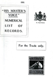His Master's Voice Numerical List of Records 1911