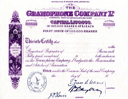 The Gramophone Company Share Certificate